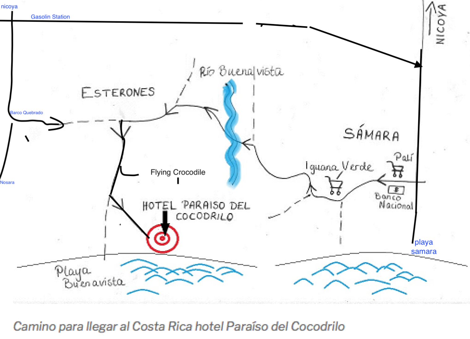 Map to Pariso del Cocodrilo